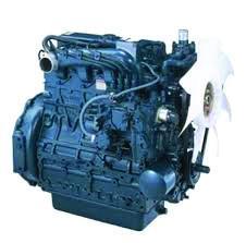 Blue color Kubota V Series Engine on white background