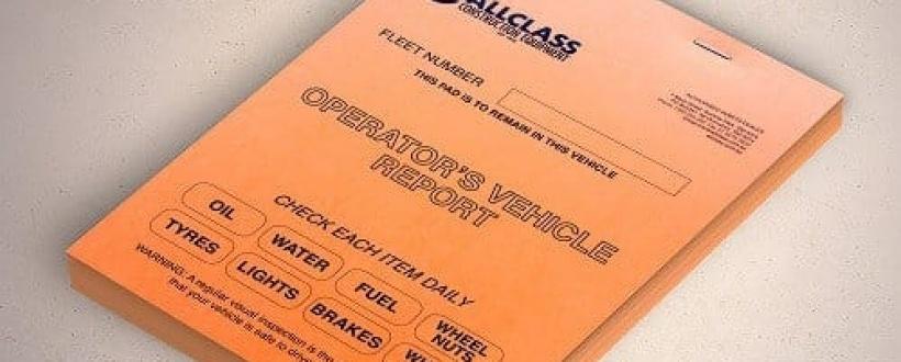 Orange coloured AllClass Construction operators vehicle report